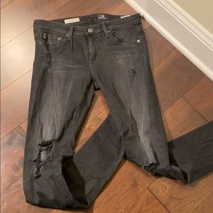 AG Black Super Skinny Distressed Jean